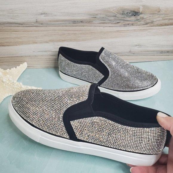 black rhinestone slip on sneakers